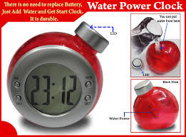 Water powered alarm clock with themperature
