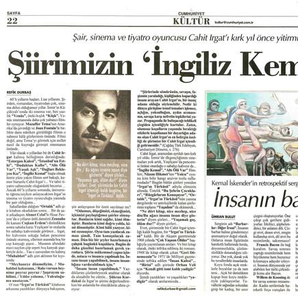 2011, 2; Şiirimizin 'İngiliz Kemal'i...