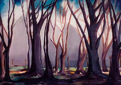 Ağaçlı Manzara. T.Ü.Y.B. 40 x 55 cm. 1987