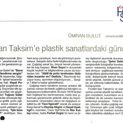 2009, 6; Fındıklı'dan Taksim'e plastik sanatlardaki güncellik