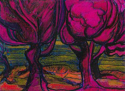 Pembe Ağaçlar. Karışık Teknik. 40 x 35. 1987