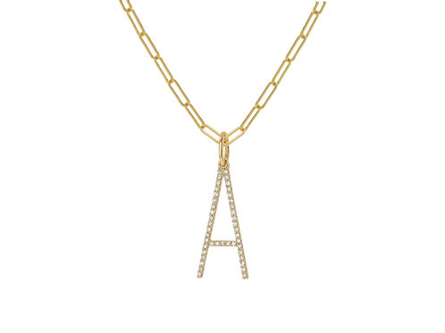 14K Gold Oversized Letter A w/ Baby link chain