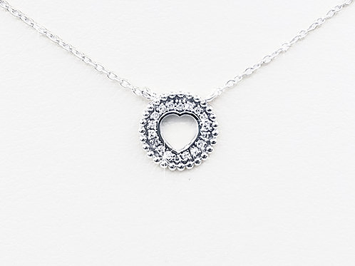 Small Round Shield Heart Necklace in Sterling Silver w/ diamonds    PN 005 SM