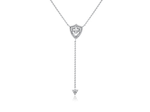 "Shield Anchor ""Y"" Necklace in Sterling Silver w/ diamonds PN 053"