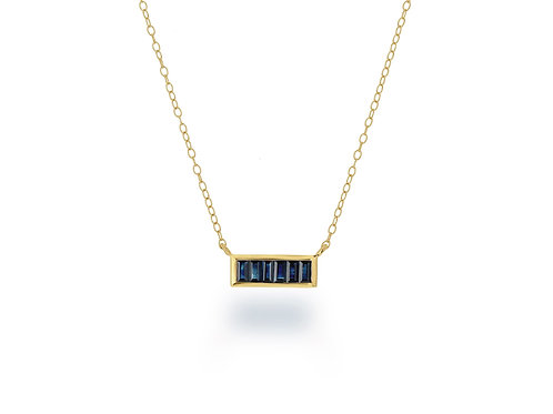 14K Gold and Sapphire  bar necklace