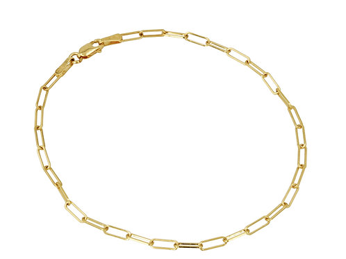14K Gold mini link chain bracelet 7""