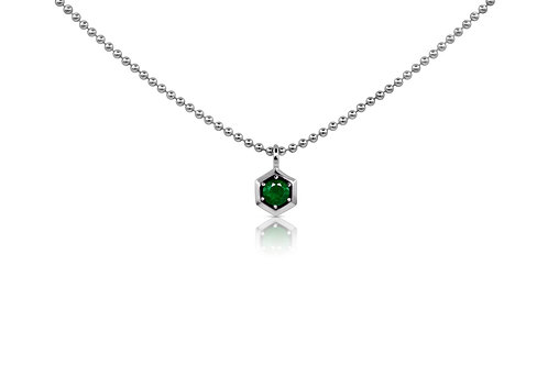 Honeycomb Pendant with Emerald in Sterling Silver  062 EM