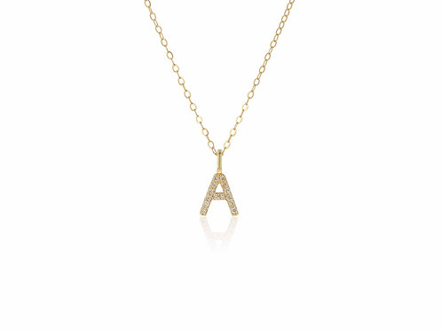 14K Gold diamond letter A necklace