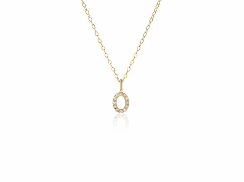 14K Gold diamond letter O necklace