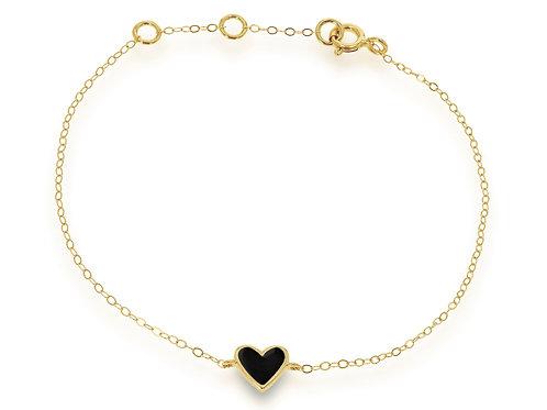 14K Mini Black Enamel Heart Bracelet