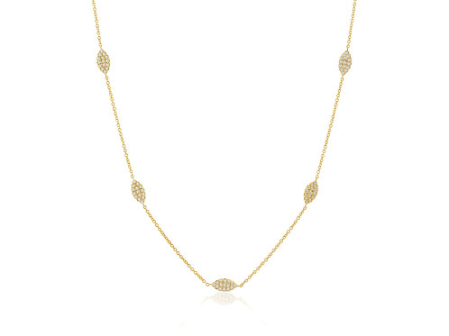"14K Gold diamond pave marquise station necklace chain 16""-17""-18"""