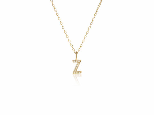 14K Gold diamond letter Z necklace
