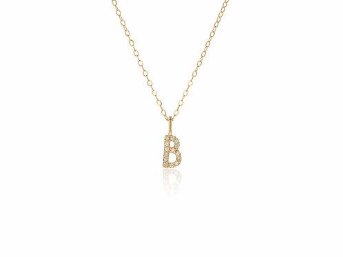 14K Gold diamond letter B necklace