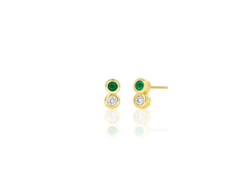 14K Gold diamond/ emerald bezel stud earring