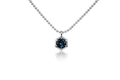 Honeycomb Pendant with London Blue Topaz  in Sterling Silver 064 LBT