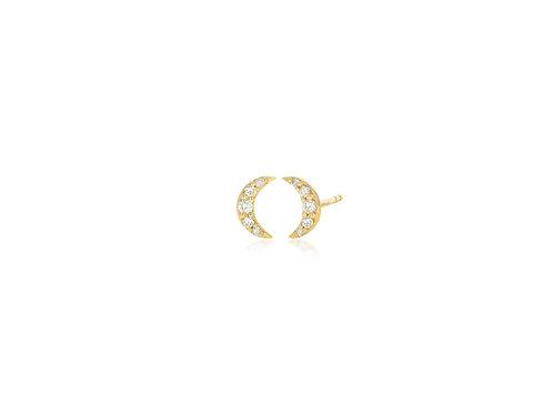 14K Gold diamond pave cresent moon stud earring