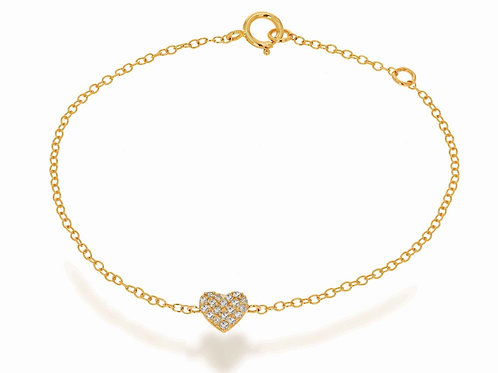 14K Mini Diamond Heart Bracelet