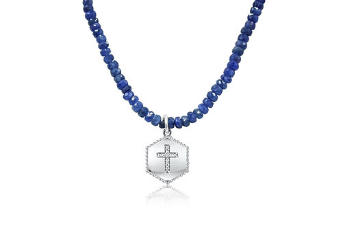 Hex Shield Neck Cross in Sterling Silver w/ Sapphire beads & dia PN 026 SA