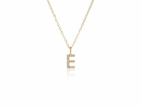 14K Gold diamond letter E necklace
