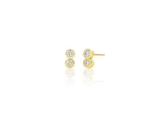 14K Gold duo diamond bezel stud earring