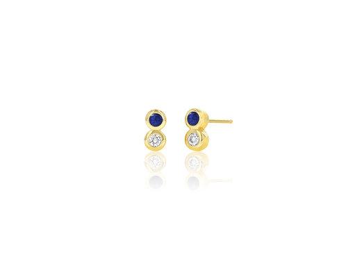 14K Gold diamond/ blue sapphire bezel stud earring