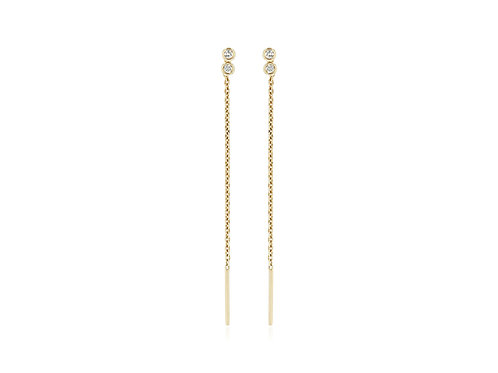 14K Gold diamond duo bezel threader Earrings