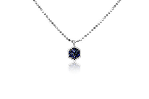 Honeycomb Pendant with Blue Sapphires in Sterling Silver PN 056 BS