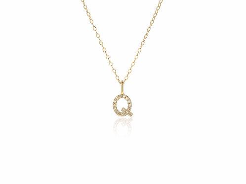 14K Gold diamond letter Q necklace