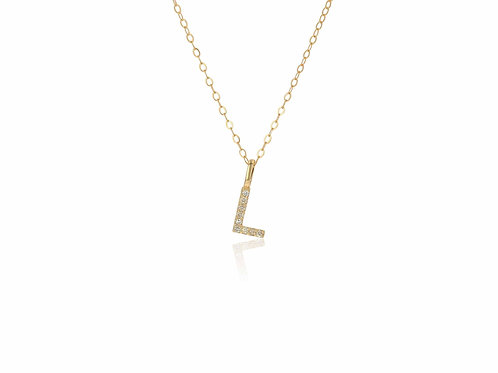 14K Gold diamond letter L necklace