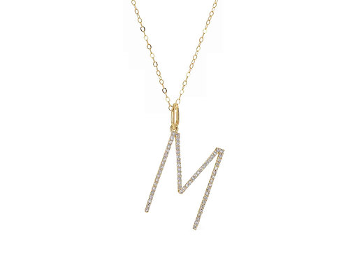 14K Gold Oversized Letter M w/ adjustable cable chain