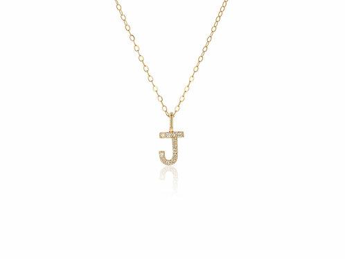 14K Gold diamond letter J necklace