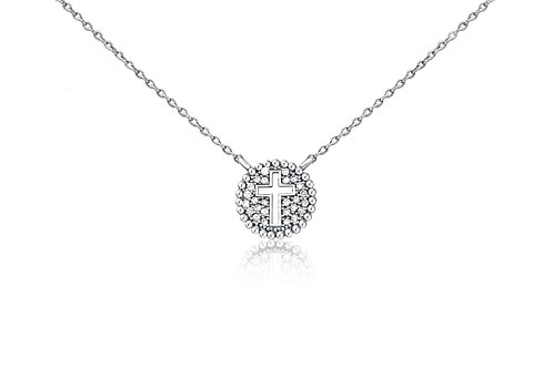 Small Round Shield Necklace in Sterling Silver w/ diamonds PN 004 SM