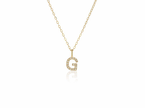 14K Gold diamond letter G necklace