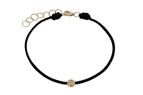14K Yellow Gold diamond and Black string bracelet