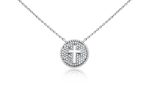 Round Cross Shield Necklace in Sterling Silver w/ diamonds PN 001 LG