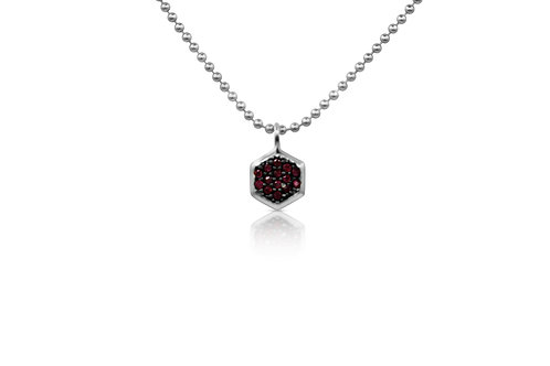 Honeycomb Pendant with Ruby in Sterling Silver  PN 056 RU