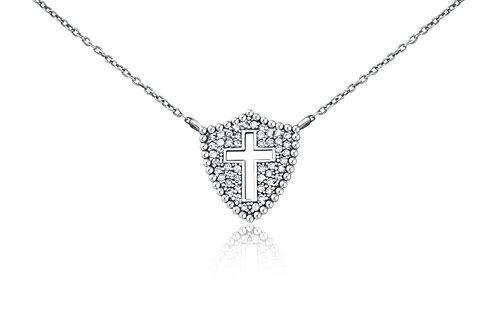 Shield Cross Necklace in Sterling Silver w/ diamonds PN 007 LG