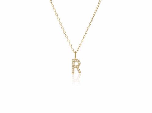 14K Gold diamond letter R necklace