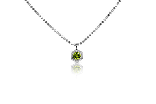 Honeycomb Pendant with Peridot  in Sterling Silver 063 PE