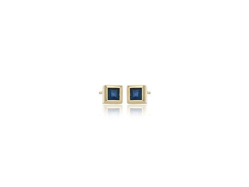 14K Gold square sapphire bezel stud earring