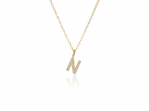 14K Gold diamond letter N necklace