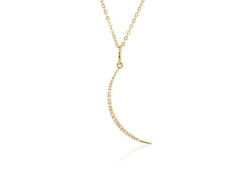14K Gold Diamond Crescent Moon Charm w/ cable chain