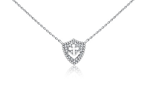 Small Shield Anchor Necklace in Sterling Silver w/diamonds  PN 012 SM
