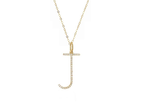 14K Gold Oversized Letter J w/ adjustable cable chain