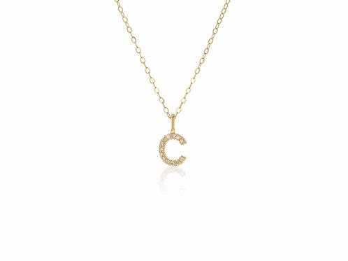 14K Gold diamond letter C necklace