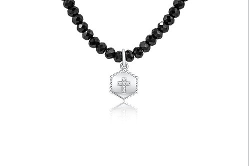 Hex Shield Cross Neck  Sterling Silv w/ diamonds & Black Spinel beads PN 029