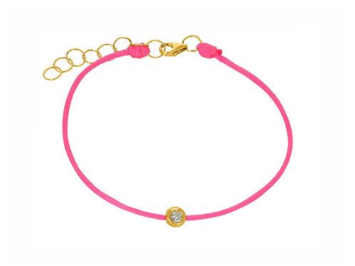 14K Yellow Gold diamond and Hot Pink string bracelet