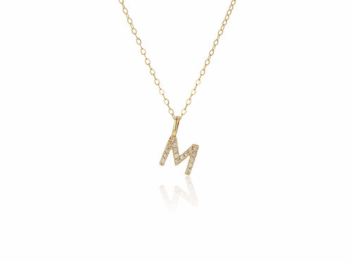 14K Gold diamond letter M necklace