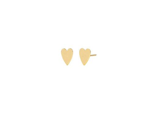 14K Gold heart shape engravable stud earring