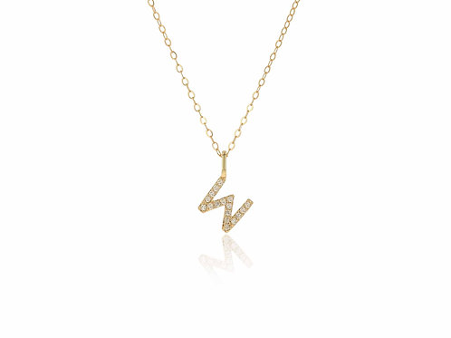 14K Gold diamond letter W necklace